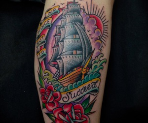 tattoo, american traditional, and clipper ship image
