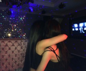 girl, friends, and dark image