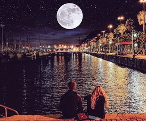 moon, love, and couple image