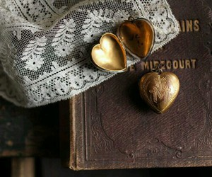 antique, book, and hearts image