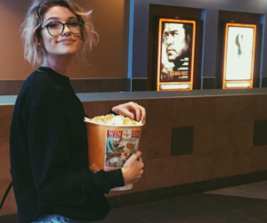girl, cinema, and popcorn image