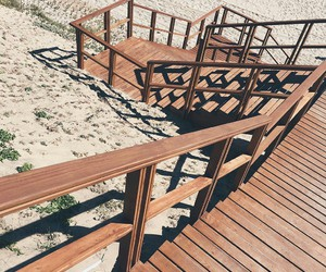 beach, stairs, and volleyball image