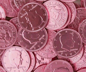 pink, money, and coins image