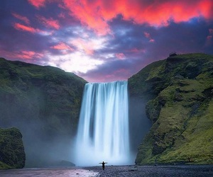 sky, waterfall, and nature image