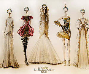 fashion, Alexander McQueen, and sketch image