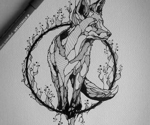 art, fox, and drawing image
