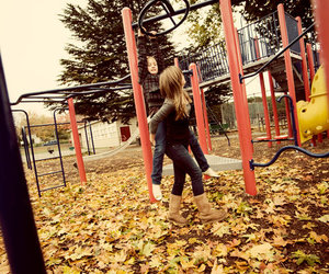 girls, leaves, and playground image