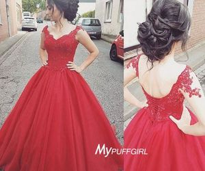 red, ball gown, and sweetheart image