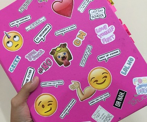 pink, notebook, and emoji image