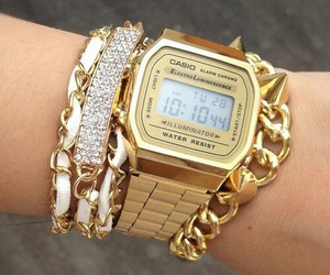 gold, watch, and casio image
