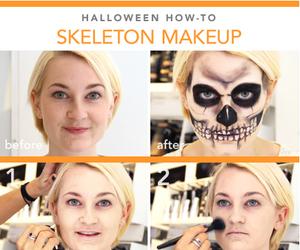 makeup, Halloween, and skeleton image