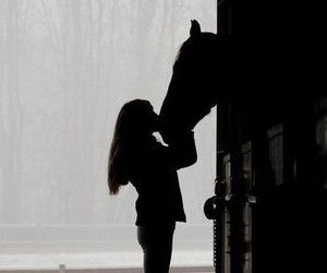 horse, girl, and shadow image