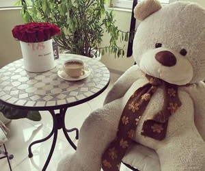 bear, coffee, and flowers image