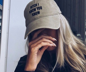 girl, cap, and blonde image