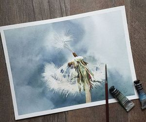 dandelion, painting, and watercolor image