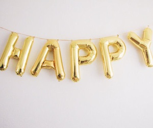 happy, gold, and balloons image