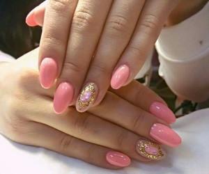 pink, gel nails, and nails art image