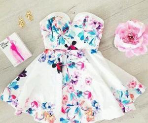 dress, fashion, and flowers image