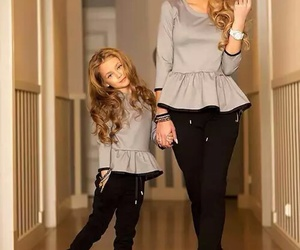 fashion, mom, and daughter image