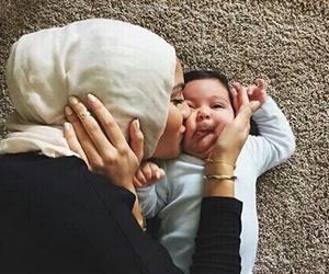 baby, hijab, and mom image