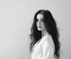 lily collins, black and white, and hair image