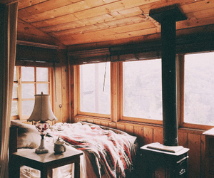 bed, home, and cabin image