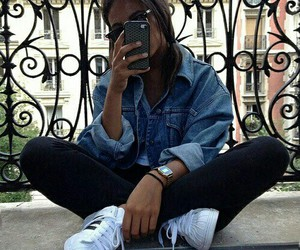 girl, adidas, and iphone image