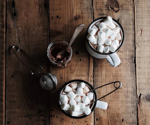 marshmallow, chocolate, and autumn image