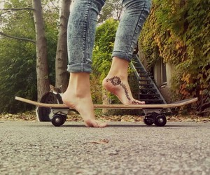 autumn, cat, and skateboard image