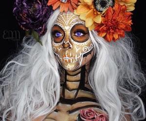 makeup, girl, and skulls image