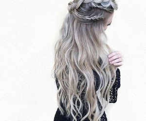 braids, grey hair, and hairstyle image