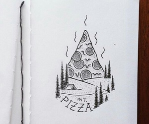 art, black and white, and pizza image