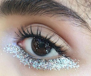 brown eyes, make up, and glitter image