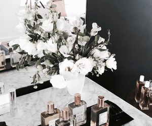 flowers, girl, and perfume image