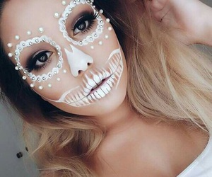 girl, halloween makeup, and goals image