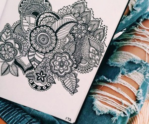 art, drawing, and jeans image
