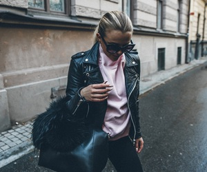 fashion, jeans, and leather jacket image