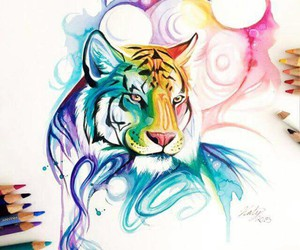 animals, hipster, and watercolor image