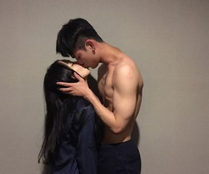 couple, asian, and kiss image