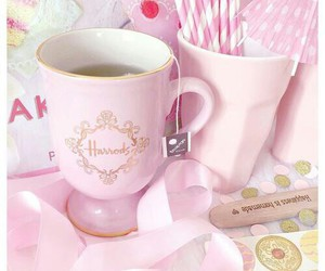 pink, cup, and te image