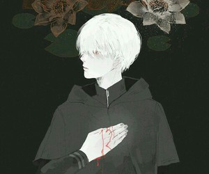 anime, flowers, and anime guy image