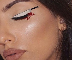 makeup, Halloween, and knife image