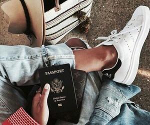 girl, passport, and travel image