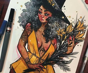 art, witch, and drawing image