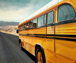 bus, travel, and yellow image