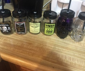 bottles, cups, and Halloween image