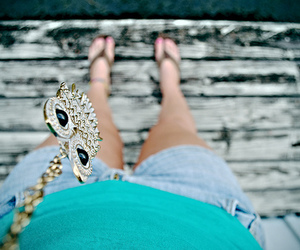 owl, necklace, and shorts image