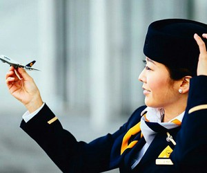 airplane, aviation, and flight attendant image