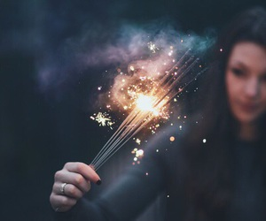 light, girl, and fireworks image