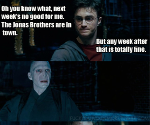harry potter, funny, and jonas brothers image